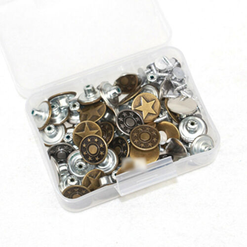 50pcs Rivets Fastener Stud Buttons Sewing Leather Denim Jeans Replacement 17mm