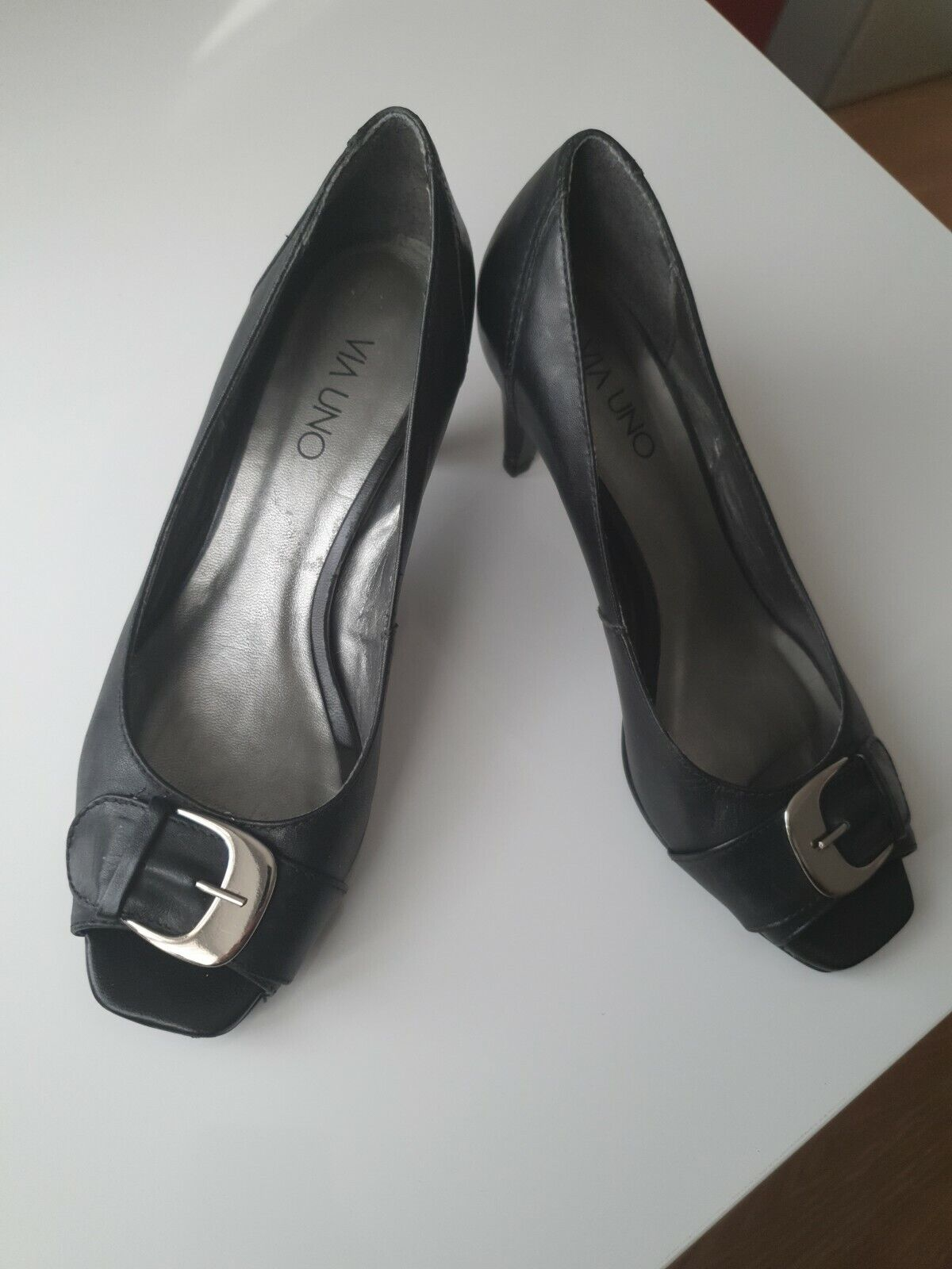 Black Open Toe Leather Shoes Heels with buckle detail Uk size 4 Eu37