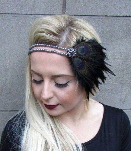 Black Dark Grey Feather Headpiece 1920s Headband Flapper Gatbsy Fascinator 5033