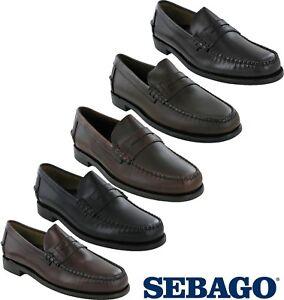 sebago classic leather mens formal slip on casual smart