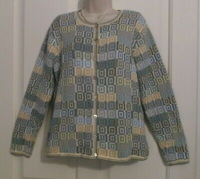 Vintage TALBOTS Granny Square 100% Cotton Long SLeeve Cardigan Large L LKNW | eBay