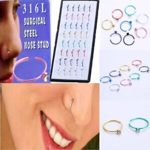 40pcs-Nose-Ring-Open-Hoop-Lip-Body-Piercing-Clip-Studs-Stainless-Steel-Jewelry