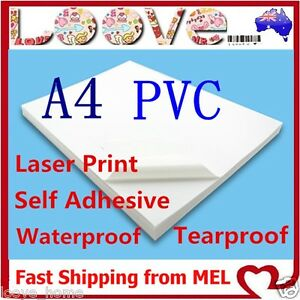 graphic relating to Waterproof Printable Labels named Information and facts over 10X A4 White PVC Shiny Water resistant Self Adhesive Sticker Label Laser Print Paper
