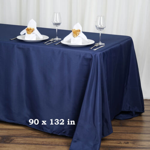 """Navy BLUE Polyester 90x132/"""" Rectangle TABLECLOTHS Wedding Party Linens SALE"""