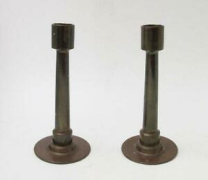 VINTAGE-PAIR-TRENCH-ART-CANDLESTICKS-MILITARY-ARTILLERY-SHELL-CASINGS
