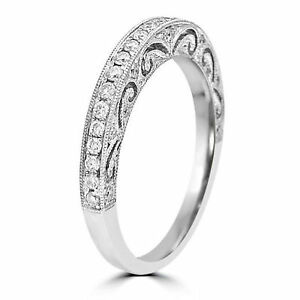 Vintage Wedding Band.Details About 0 35ctw Art Deco Diamond Vintage Wedding Band Ring Women S 14k White Gold Finish