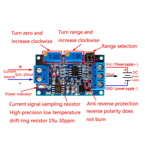 Details about  /Current To Voltage Module 0//4-20mA To 0-3.3V 5V 10V Transmitter Signal Converter
