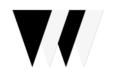 Laborioso Bunting Nero Bianco Alternata 20 Bandiera Compleanno Matrimonio 10m Newcastle Calcio-
