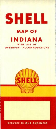 1957 Shell Road Map Indiana NOS
