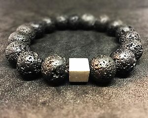Lava-925er-sterling-Silber-Armband-Bracelet-Perlenarmband-schwarz-12-mm