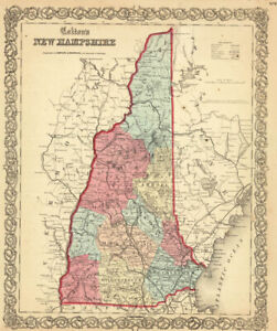 1860-Colton-039-s-034-NEW-HAMPSHIRE-034-original-ex-atlas
