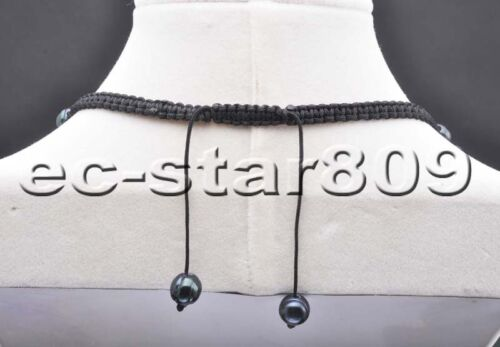 "P6056 Handwork 16/""-20/"" 10mm Black Round freshwater pearl Necklace"