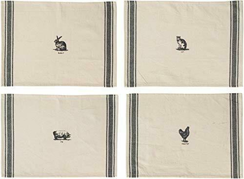 Set of 4 Placemats, Rabbit, Cat, Pig, Rooster Molly Hatch Black and White