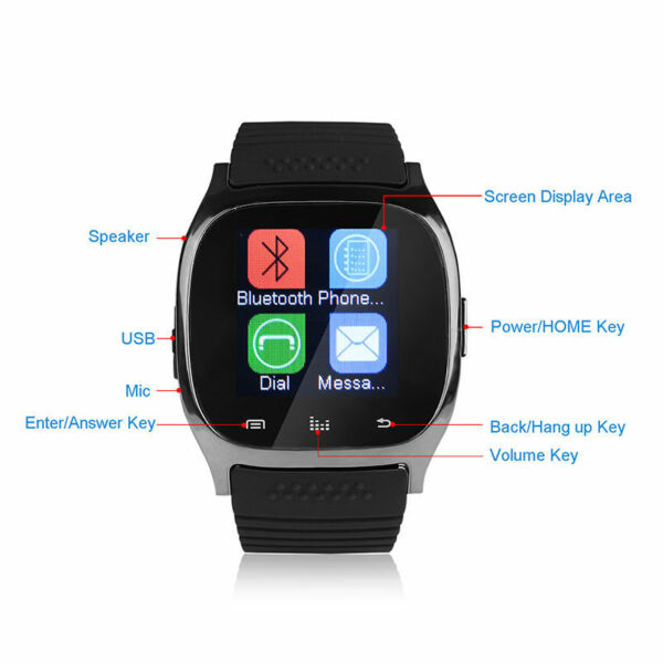 RELOJ PULSERA MATE IMPERMEABLE BLUETOOTH RELOJ INTELIGENTE PARA ANDROID HTC SAMSUNG IPHONE IOS NEGRO
