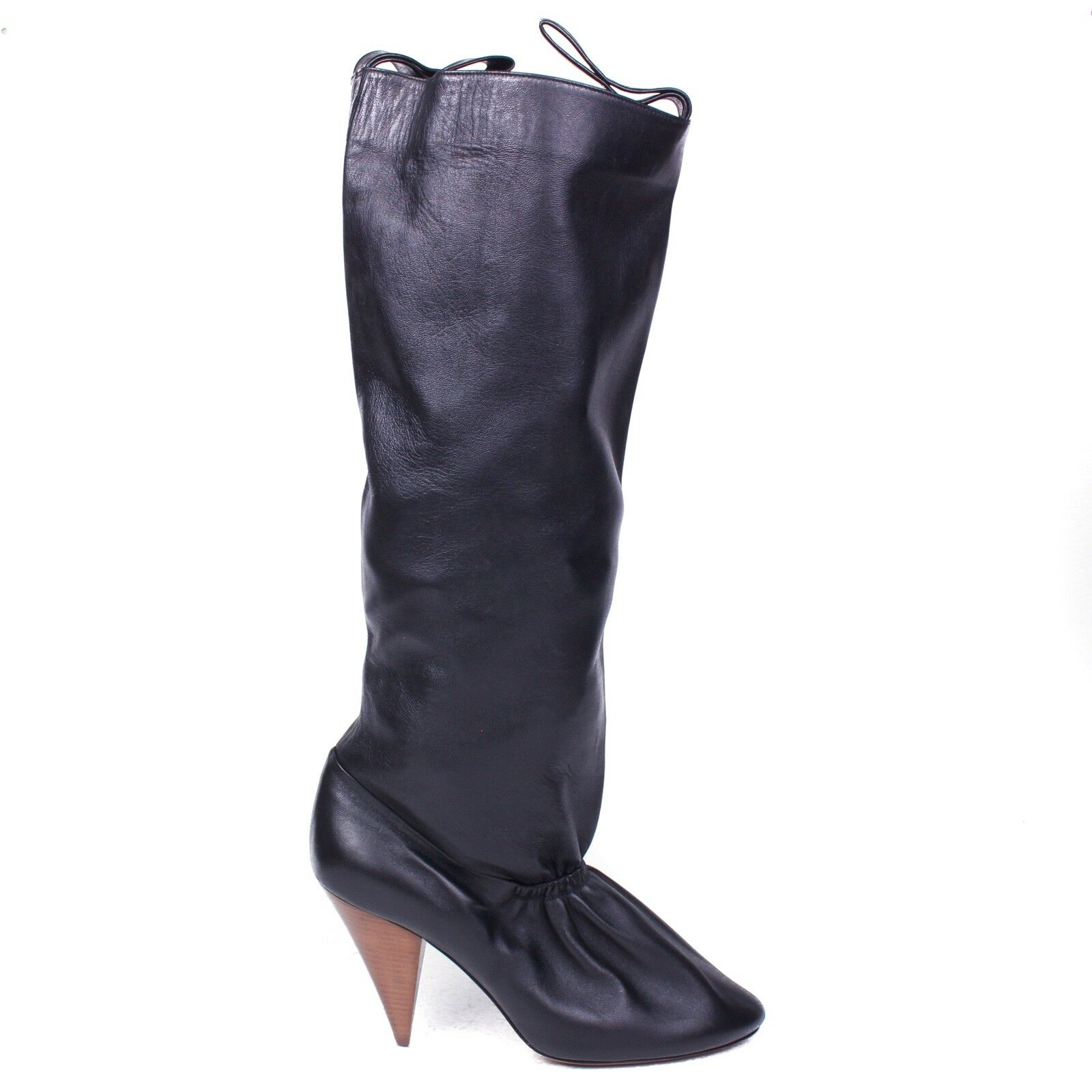 Celine 2018 New  1800 Tall Boots Black Leather with Wooden Heels - US 8 - 38