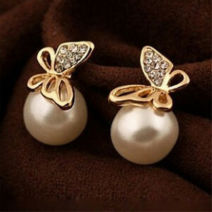 Schmuck-Frauen-Kristall-Gold-Schmetterling-Perle-Ohrstecker-Ohrringe-Geschenk-EH