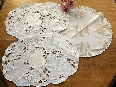 3 Vintage Style White Table Centres / Toppers Tray Cloths ...