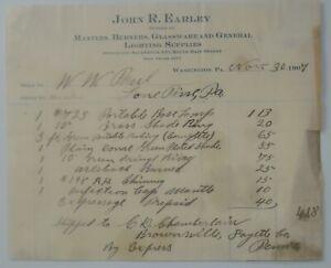 1907-Billhead-Washington-Pennsylvania-John-R-Earley-Mantles-Burners-Fireplaces