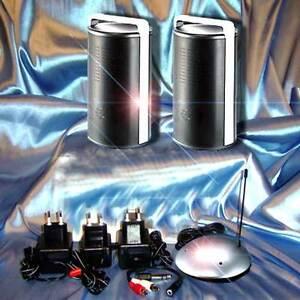 wireless stereo funk lautsprecher aktiv funk boxen ipod pc mp3 dvd tv kabellos. Black Bedroom Furniture Sets. Home Design Ideas
