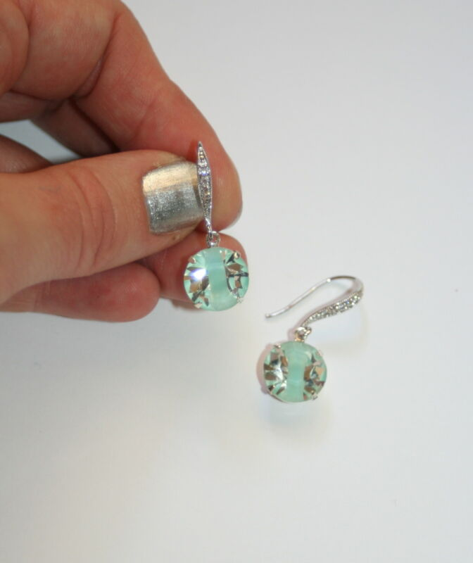 Vintage Single Drop Austrian Crystal Givre Bridal Party Sparkle Silver Earring