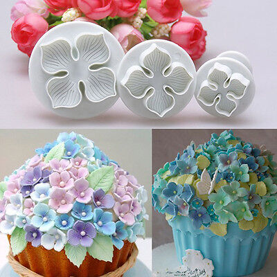 3pcs Hydrangea Fondant Cake Decorating Sugar Craft Plunger Cutter Flower Mold