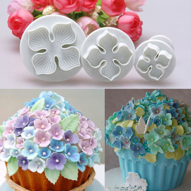 3pcs Hydrangea Fondant Cake Decorating Sugar Craft Plunger Cutter Flower Mold