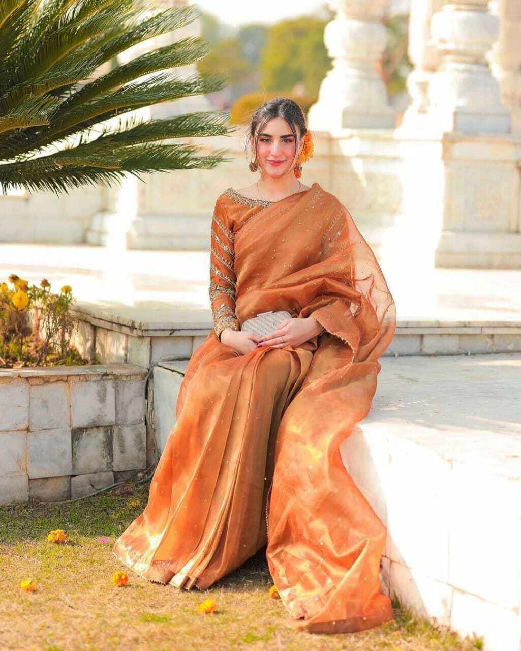Indian Organza Embroidery Sequence Work Stylish Party Saree Sari Fancy Lace Work