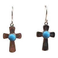 Turquoise & Sterling Silver Navajo Cross Earrings