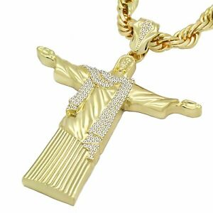 Mens-14k-Gold-PL-CZ-XL-Christ-The-Redeemer-Pendant-10mm-24-inch-Rope-Chain