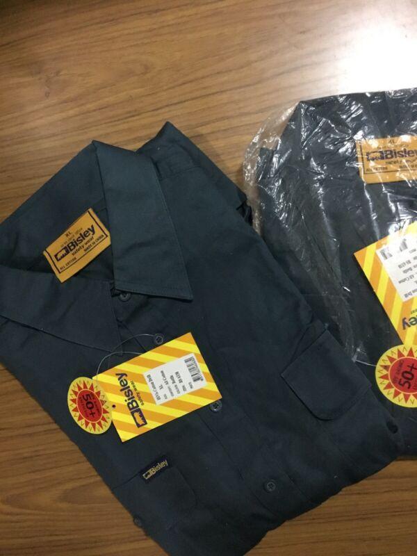 (pack Of 2) Bisley Work Shirt Lightweight Cotton Green Long Sleeve Size Xl