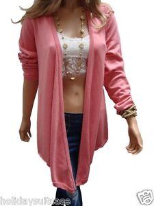 Ladies womans pink coral waterfall summer cardigan wrap jacket ...