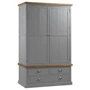 Wardrobe-Handmade-Pine-Wood-Three-Drawer-Two-Door-Grey-Hue-Silver-Handles