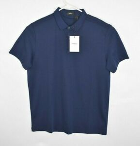 NEW-Theory-Men-s-Polo-Shirt-Navy-Size-L-Short-Sleeve-Pima-Cotton
