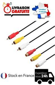 CABLE-CONVERTISSEUR-ADAPTATEUR-COMPOSITE-1M-3M-TRIPLE-3-RCA-MALE-3-RCA-FEMELLE