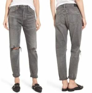 8ecfb16d1f9 Details about CITIZENS OF HUMANITY Liya High Rise Crop Boyfriend Jean  Extreme Black Grey sz 30