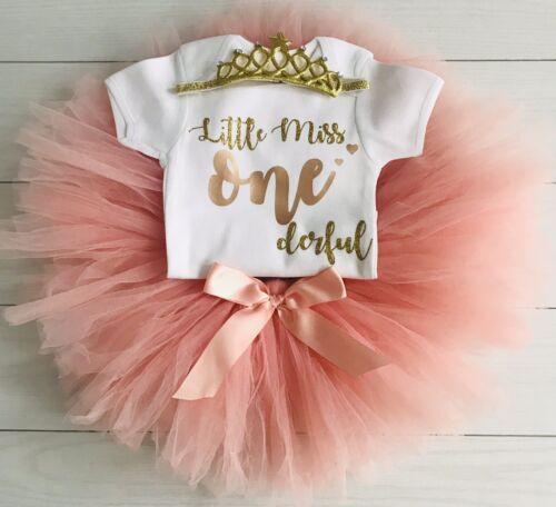 Girls 1st First Birthday Outfit Tutu Skirt Cake Smash Set Tiara Miss One Derful