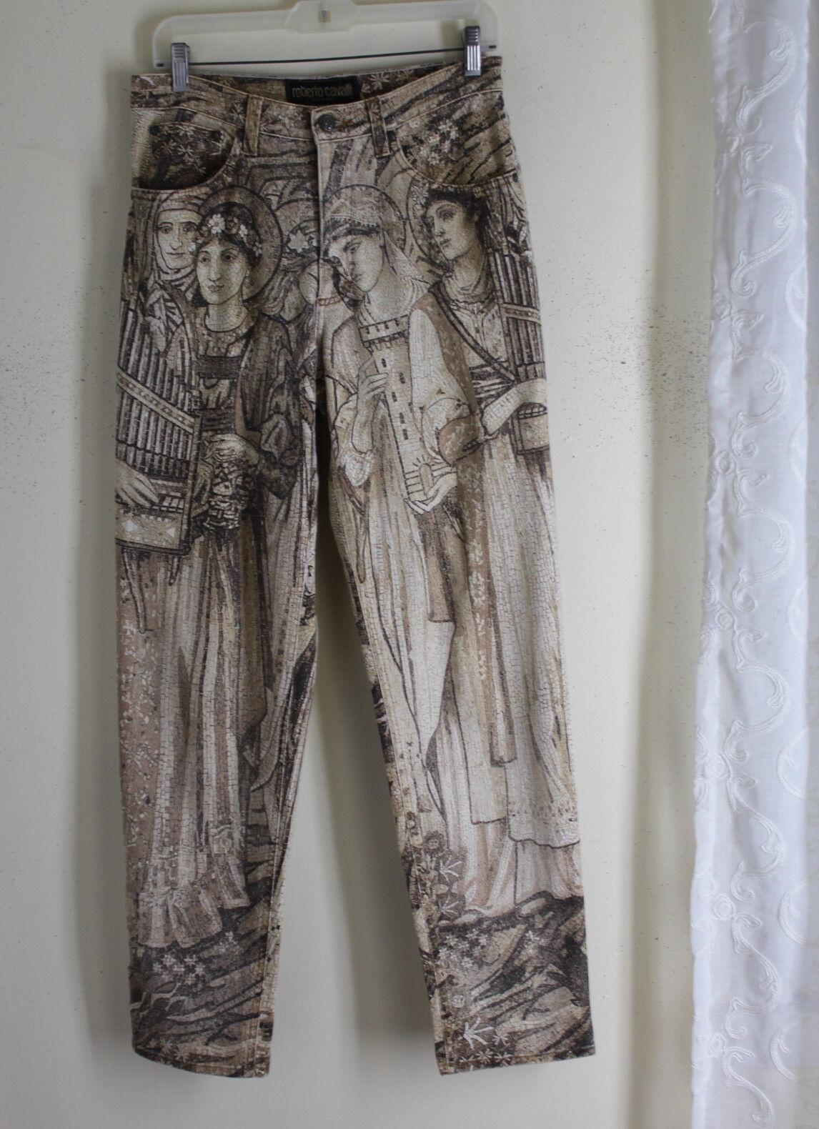 Roberto Cavalli Vintage 1990s 80s Pantalones De  Mosaico Arte Renacimiento italiano 8 10 12  venta con descuento