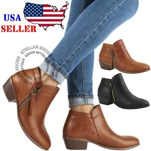 60999dd65900 Womens Low Heel Ankle Boots Booties Round Toe Zipper Casual Shoes