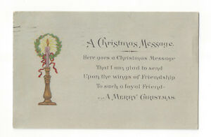 S20-VINTAGE-MERRY-CHRISTMAS-POSTCARD-LOYAL-FRIEND-CANDLE-WREATH-GARTNER-BENDER