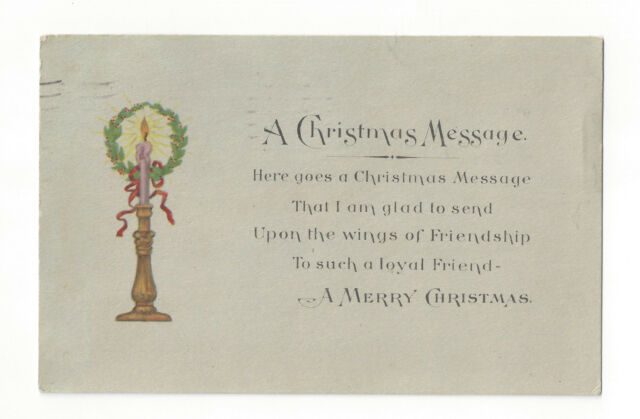 S20 VINTAGE MERRY CHRISTMAS POSTCARD LOYAL FRIEND CANDLE WREATH GARTNER BENDER
