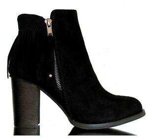 official photos be852 fa327 Details zu Stiefel Stiefeletten Ankle Boots Cowboy Pumps Fransen Hoher  Absatz Schwarz 37