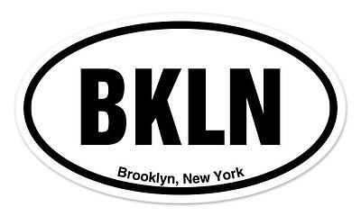 "BKLN Brooklyn New York Oval car window bumper sticker decal 5"" x 3"""