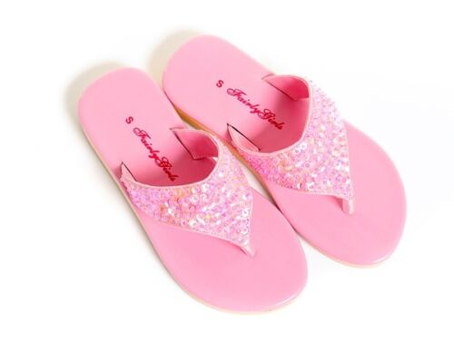 Girls Pink Fairy Dress Up Ballet Sparkle Thongs Shoes