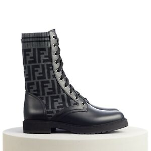 "FENDI 1100$ ""Rockoko"" Combat Boots In Black Leather & FF Motif Sock Knit"