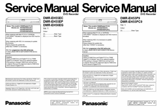 Panasonic DMR-EH55 EH56 DVD Recorder Service Manual & Reparatur Handbuch