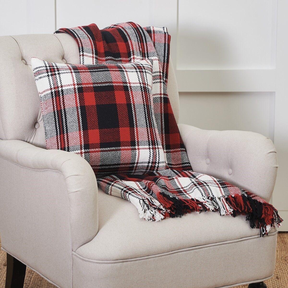 Fireside Woven Cotton Plaid Throw or Plaid Toss Pillow-Matches Fireside Blanket