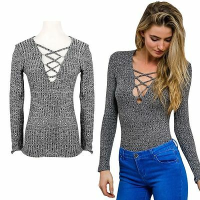 Womens Sexy V Neck Long Sleeve T Shirt Knit Tops Pullover Lace Up Slim Sweater