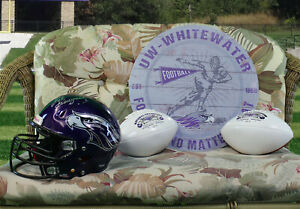 UW-Whitewater-Football-GAME-USED-Helmet-Two-Championship-Trophy-Balls-amp-Plaque