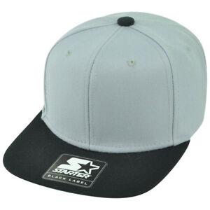 d3e3e6e6a2e8b Starter Grey Black Solid Plain Blank Flat Bill Snapback Hat Cap ...