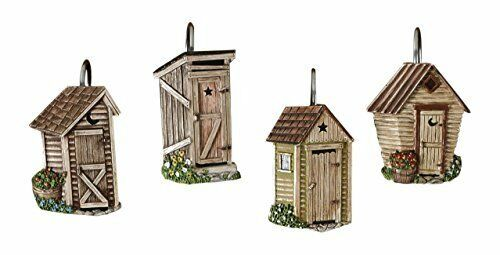 Durable Resin Hand Painted Outhouse Shower Curtain Hook Set 3.5